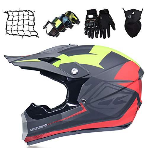 Casco de Motocross Niño Gris Amarillo Casco BMX Set con Guantes/Gafas/Máscara/Red Bungee (5 piezas) Cascos Integrales de Moto para Adultos para ATV Quad Scooter