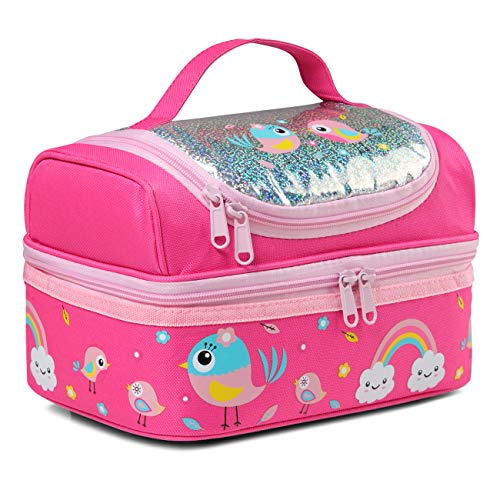 Lunch Bag for Girls, Kasgo Cute Insulated Kids Lunch Tote Bag with Dual Compartments, Pink Bird