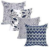 Amazon Brand - UMI Fundas de Almohada cuadradas, Suaves y Estampadas para el Sofa, el Dormitorio y el Coche, 45 x 45 cm (Pack de 4), Grey-Navy