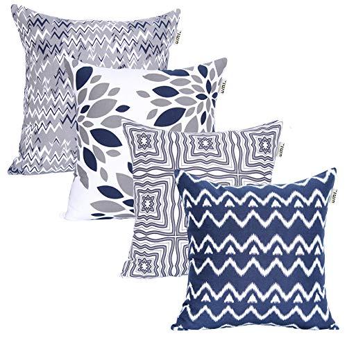 UMI by Amazon - Fundas de Almohada cuadradas, Suaves y Estampadas para el sofá, el Dormitorio y el Coche, 45 x 45 cm (Pack de 4), Grey-Navy