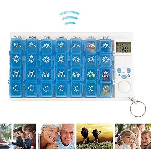 Elektronische Smart 28 Compartiment Medicijndoos, Draagbare Mini Medicijndoos Draagbare Wekker Trillingsherinnering PP Materiaal, Voor Kantoormedewerkers, Middelbare Leeftijd En Ouderen,A