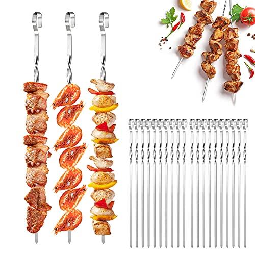 JIASHA Brochettes pour Barbecue, 20 Pièces 38cm Brochettes en Acier Inoxydable Brochette Réutilisables Brochettes de Légumes Pics à brochettes, pour Barbecue Viande légumes