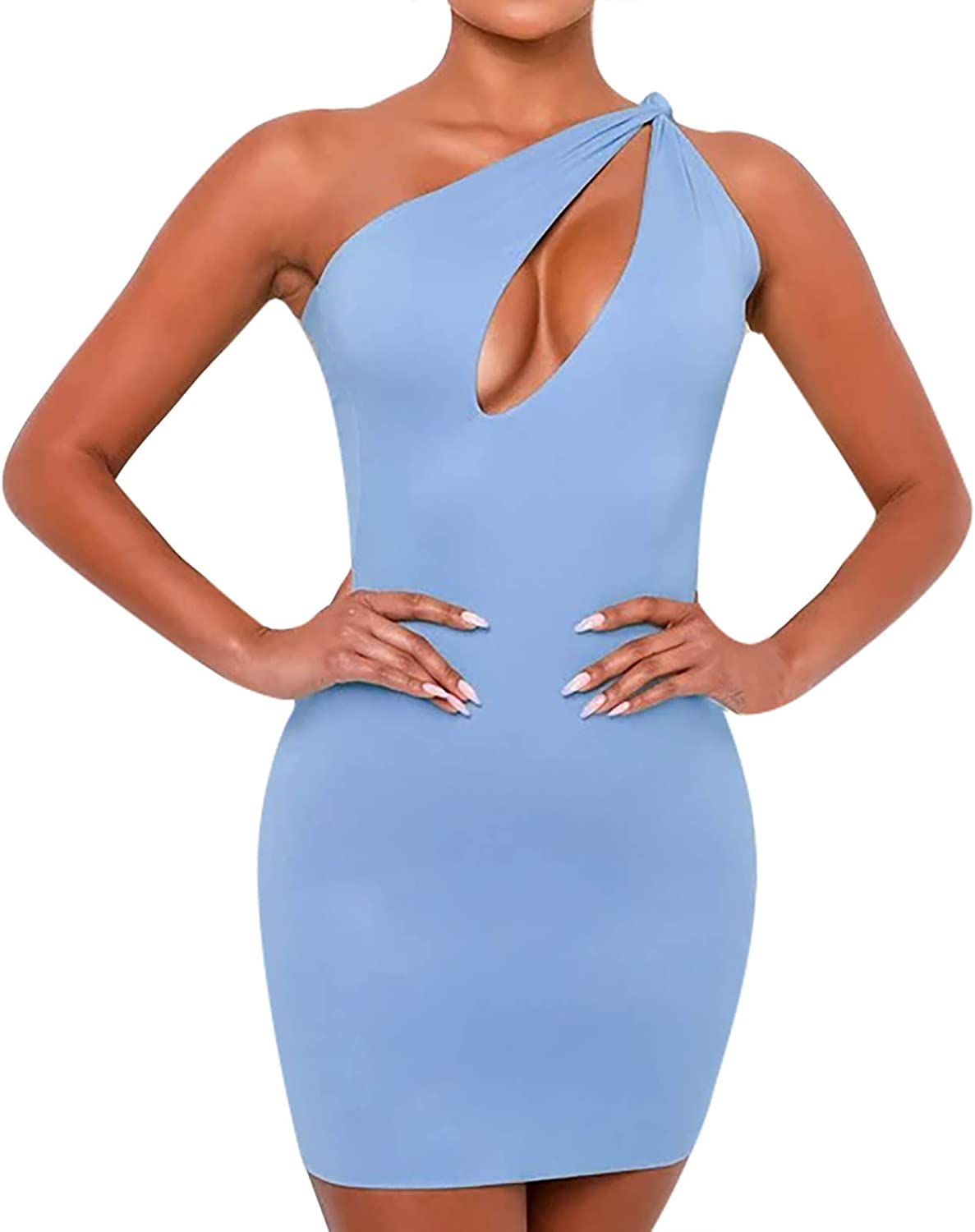 Women's Sexy One Shoulder Hollow Out Knot Mini Dress Sleeveless Bodycon Night Out Club Party Dress
