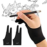 Mixoo Artist Gloves for Drawing Tablet 2 Pack - Palm Rejection Drawing Gloves with Two Fingers for Paper Sketching, iPad, Graphics Painting, Good for Left and Right Hand (L)