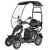 VELECO 4 Wheeled Electric Mobility Scooter 1000W Faster (Grey with Canopy)