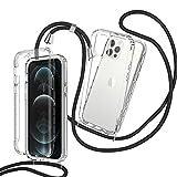 ZHXMALL Funda con Cuerda para iPhone 12/12 Pro 6.1'',360 Grados Ajustable Collar Transparente Carcasa,Anti-Choque PC Duro Delantera TPU Bumper Trasera Cadena Cordón Case Protectora Cover,Negro