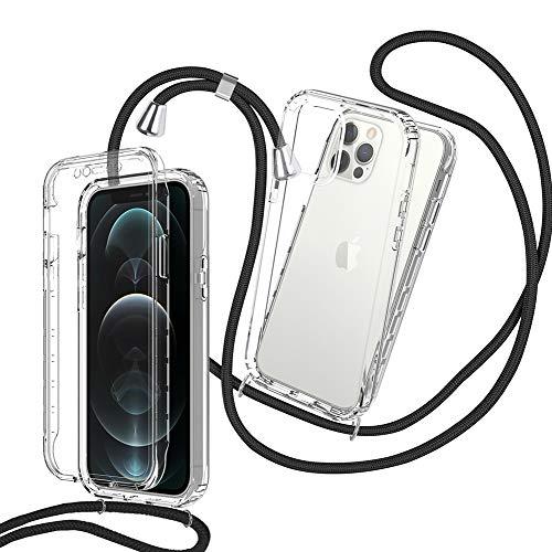 ZHXMALL Cover con Cordino per iPhone 12 12 PRO 6.1  ,360 Gradi Protezione Custodia Trasparente con Practical Antiurto Collana Protettiva,Stylish Tracolla Antiurto Paraurti Case Collana,Nero