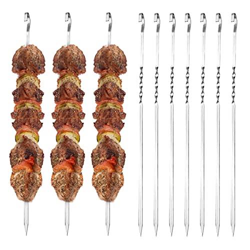 Quantity Pinchos de acero inoxidable para barbacoa, 10 unidades, 43 cm, brochetas de metal reutilizables para barbacoa Kebab, ideales para shish kebab, verduras, pan, maíz