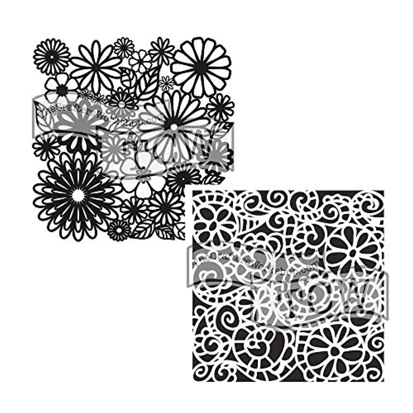 Crafter's Workshop Stencil 2 Pack, Reusable Stenciling Templates for Art Journaling, Mixed Media, and Scrapbooking - TCW157 Flower Frenzy & TCW325 Swirly Garden jnlowns884570