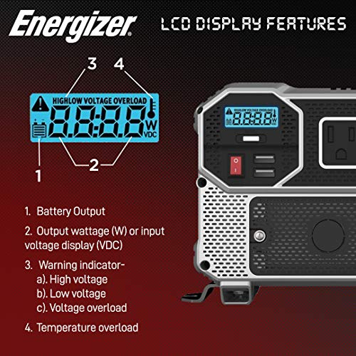 Energizer 3000 Watts Power Inverter, 12V to 110 Volts Modified Sine Wave Car Inverter, Dual AC Outlets, 2 USB Ports 2.4A ea and Hardwire Kit, Battery Cables Included - METLab Approved Under UL STD 458
