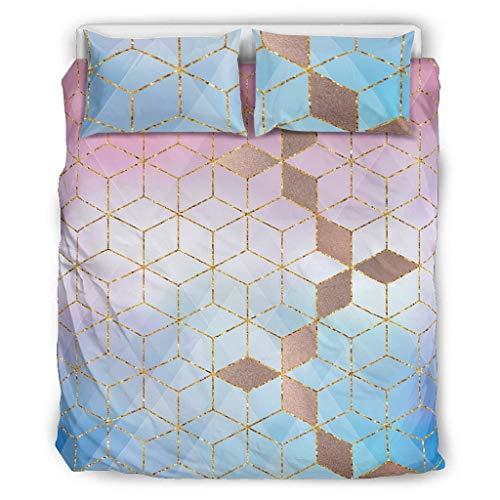 Generic Branded 3-Piece Pink Gradient Grid Bedspread Bedding Set Modern Duvet Cover Modern Art Soft & Comfort Bed Linen Set White 168 x 229 cm