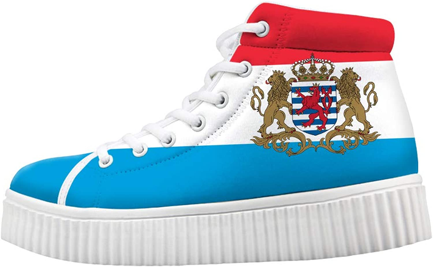 Owaheson Platform Lace up Sneaker Casual Chunky Walking shoes High Top Women Luxembourg Flag National Emblem