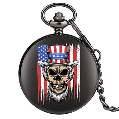 ZMKW Reloj de Bolsillo de Cuarzo con Estampado de Calavera de Bandera Americana, Reloj analógico para Hombre y Mujer, Regalo Antiguo, predeterminado
