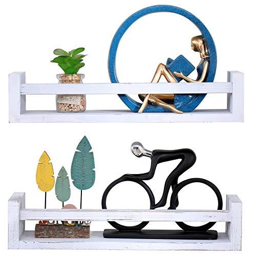 Estantes flotantes colgantes decorativos de madera rústica, estante de almacenamiento de exposición, estante de pared de madera, juego de 2, para el hogar, dormitorio, cocina (blanqueado)