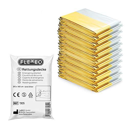 1 | 10 | 20 | 50 Stück | FLEXEO Rettungsdecke gold silber | 210cm x 160cm | Rettungsfolie | Notfall | Erste-Hilfe | Notfalldecke | Goldfolie | Silberfolie (10 Stück)