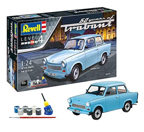 Revell 07777 60 Jahre Trabant 601S, Jubiläumsset des DDR Kultautos mit Basis-Zubehör Spielzeug originalgetreuer Modellbausatz, 1:24/14,9 cm