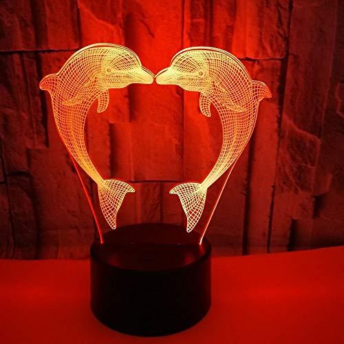 Hancoc Lámpara de mesa colorida delfín lámpara de visión 3D LED táctil dormitorio pequeña lámpara de mesa