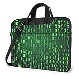 AOOEDM Estuche para computadora portátil Bolsa de computadora Funda de manga Verde Código de computadora Maletín de hombro impermeable 13 14 15.6 pulgadas