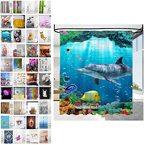 Sanilo® Duschvorhang, viele schöne Duschvorhänge zur Auswahl, hochwertige Qualität, inkl. 12 Ringe, wasserdicht, Anti-Schimmel-Effekt (180 x 200 cm, Delphin Korallen)
