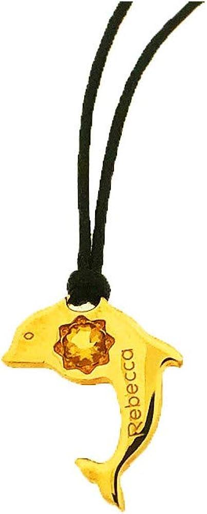 Rebecca collana unisex in filo con ciondolo a forma di delfino in bronzo e pietra gialla BUNSSC06