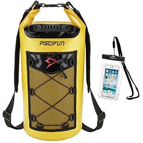 ピシファン(Piscifun)多機能 ドライバッグ 大容量 500D PVC防水 高品質リュック 10L イエロー