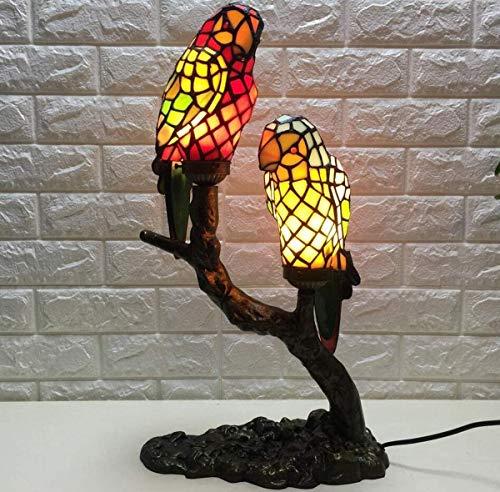 QUETAZHI- Parrot Lampe 2 Lampe Nachttischlampe Barock Kunst Glasmalerei Schatten Tischlampe Schlafzimmer Wohnzimmer Kaffee QU326