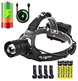 Garberiel XHP50 Super Bright 6000 Lumens LED Headlamp USB Rechargeable Headlamp Headlight Flashlight Zoomable Light with 3 x Battery and USB Cable
