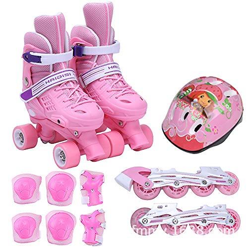 Kinder-Rollschuhe, mit Schutzausrüstung Outdoor-Skates Rollschuhe mit Einstellbarer Größe PU-Material gerade Riemenscheibe, S/M-Code optional,Pink,L(23~26cm)