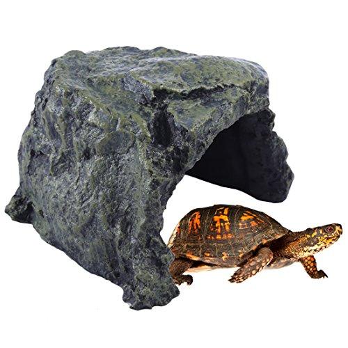 Auforua Decoración de acuario de resina para refugio de reptiles, cueva y terrario, escondite para pequeños lagartos, tortugas, escorpión, reptil, anfibio, pecera, grande