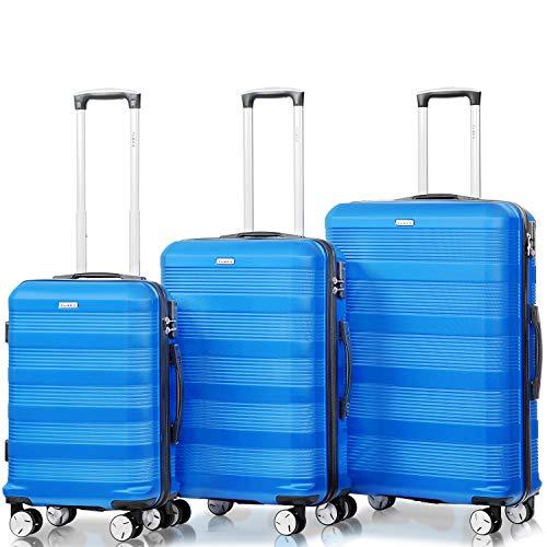 Flieks Reisekoffer Kofferset Hartschale 4 Zwillingsrollen Trolleys Gepäck Koffer 3tlg. (Blau, Set)