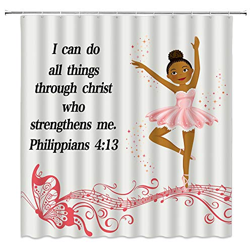 Girl Dancer Shower Curtain Kids Inspirational Motto Decor Ballerina Princess with a Tutu on Musical Notes Bible Backdrop,Fabric Bathroom Set Hooks Included,Brown Coral