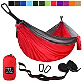 Gold Armour Camping Hammock - USA Brand Single Parachute Hammock (2 Tree Straps 10 Loops/20 ft Included) Lightweight Nylon Portable Adult Kids Best Accessories Gear (Red and Gray)