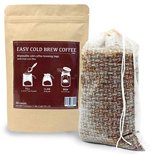 No Mess Cold Brew Coffee Filters - Easy, Single Use Filter Sock Packs, Disposable, Fine Mesh Brewing Bags for Concentrate, Iced Coffee Maker, French/Cold Press Kit, Hot Tea in Mason Jar or Pitcher