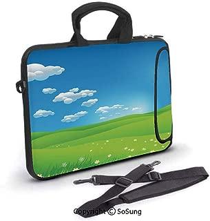 13 inch Laptop Sleeve Case,Cartoon Scenery Clouds Valley Hills Grass Sunbeams Flowers Artprint Image