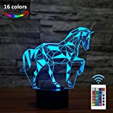 FULLOSUN Night Lights for Kids Horse Illusion 3D Night Light Bedside Lamp Car 16 Colors Changing with Remote Control Best Birthday Gifts for Child Baby Boy and Girl