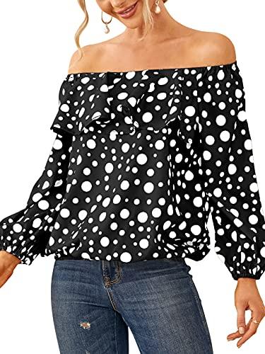 ZANZEA Mujer Camisas Manga Larga Hombros Descubiertos Blusas Sueltas sin Espalda Tops Volantes 07-Negro XXL