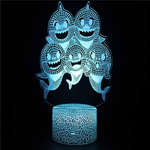 A Group of Elves 3D Illusion Lights Lamp Ice Crack Base LED Table Desk Decor 7 Colors Touch Control USB Powered