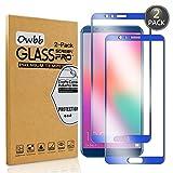 owbb [2 pezzi] blu scuro vetro temperato pellicola per huawei honor view 10 smartphone full coverage protettiva protezione 9h durezza 99% alta trasparente