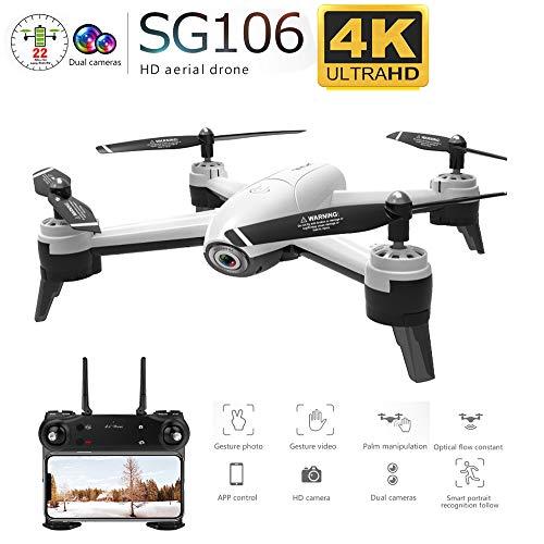 FairOnly SG106 RC Drone Flujo óptico 1080P 4K HD Cámara Dual Video aéreo en Tiempo Real Cuadricóptero RC Posicionamiento de aeronaves RTF Juguetes Niños Cámara Dual 4K Juguetes
