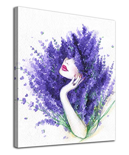 Lavender Wall Art Grils Botanic Abstract Flower Beauty Canvas Pictures Purple Modern Artwork Contemporary Print for Bathroom Bedroom Living Room Kitchen Office Home Decor Framed Ready to Hang 12' x 16'
