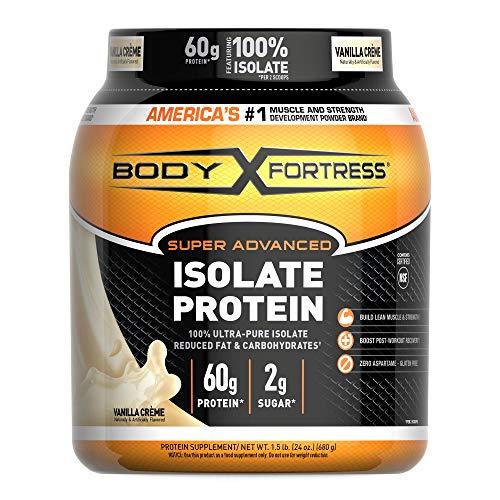 Body Fortress Super Advanced, Whey Protein Isolate Powder, Keto Diet Friendly, Gluten Free, Vanilla, 60 g of Protein, 24 Ounce