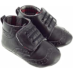 Glen Appin Authentic Scottish Baby Black Soft Ghilie Brogues Tartan Lined Inside Velcro Strap Brand New (0-6 Months)
