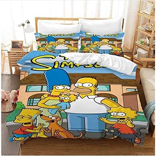 Nat999Lily Copripiumino Simpsons Family 3D Cartoon Bedding Set Federe Set Twin Full Queen King Size Bedding Set Biancheria da Letto Tessili per La Casa 240X260Cm
