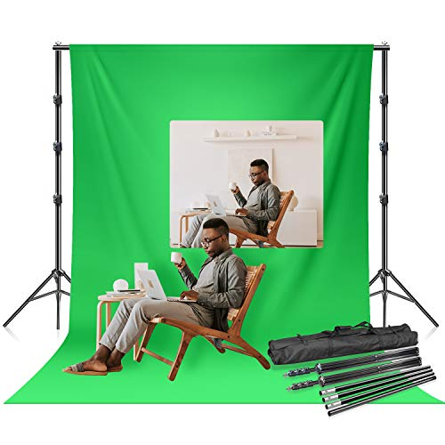 LS LIMO STUDIO LIMOSTUDIO 6 x 9 ft. Soft Green Screen Chromakey Background Backdrop Photo & Video 10 ft. Width Backdrop Stand Background Support System Equipment, AGG3113