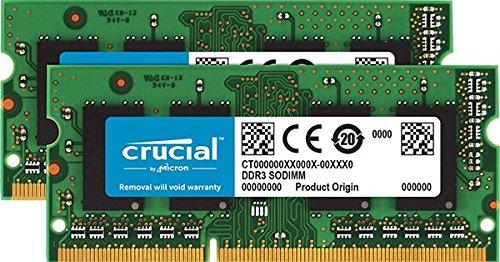 Crucial 16GB Kit (8GBx2) DDR3/DDR3L 1600 MT/s (PC3-12800) SODIMM 204-Pin Memory...