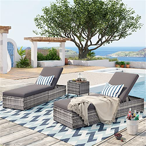 Set di 3 pezzi da giardino con ruote reclinabili in rattan, per esterni, regolabile, amaca per bevande e bevande