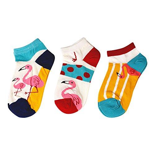 MarylinDreams Damen Sneaker Socken   (3 Paar)   Kurze Bunte Flamingo Motive   Mehrfarbig   (Größe 35-40)