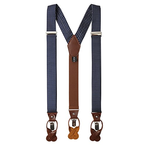 Jacob Alexander Men's Polka Dot Y-Back Suspenders Braces Convertible Leather Ends and Clips - Navy
