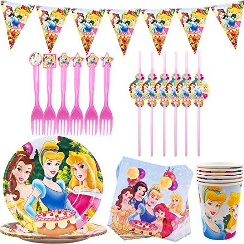 Vajilla de Cumpleaños - YUESEN Kit de Artículos para Fiesta Cumpleaños Infantil Vajilla de Fiesta TemÁTica de Disney Plato Taza Servilleta Tenedor Banderín- 6 Invitados