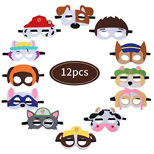 Colmanda Fieltro Máscaras, 12 Piezas Patrulla Canina Máscaras Máscaras de Niños Fiesta Máscaras Animales Cumpleaños para Navidad Halloween Cumpleaños Cosplay